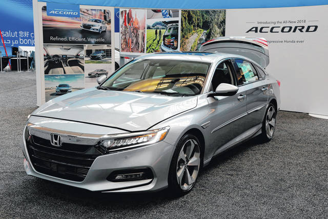 The 2018 Honda Accord on display at the Pittsburgh Auto Show.