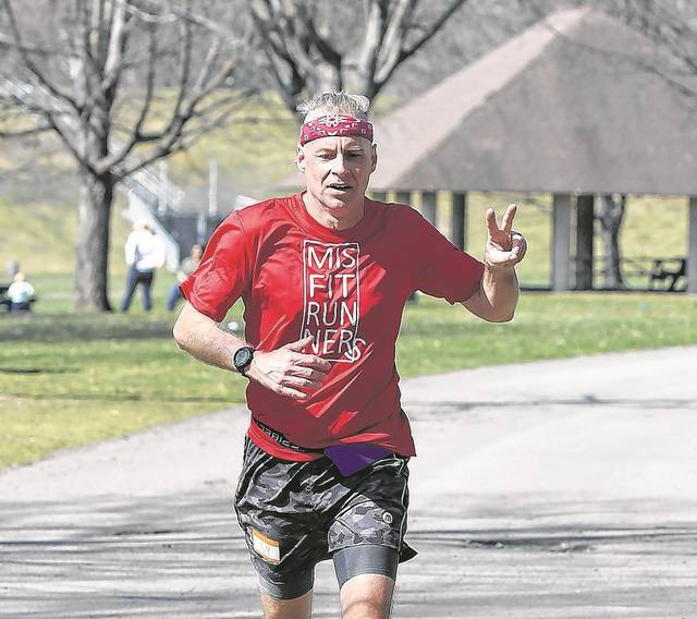 Paul Shaffer, West Pittston, was declared the overall winner of the Bark in the Park 5K race with a time of 20:56. Tony Callaio | For Times Leader