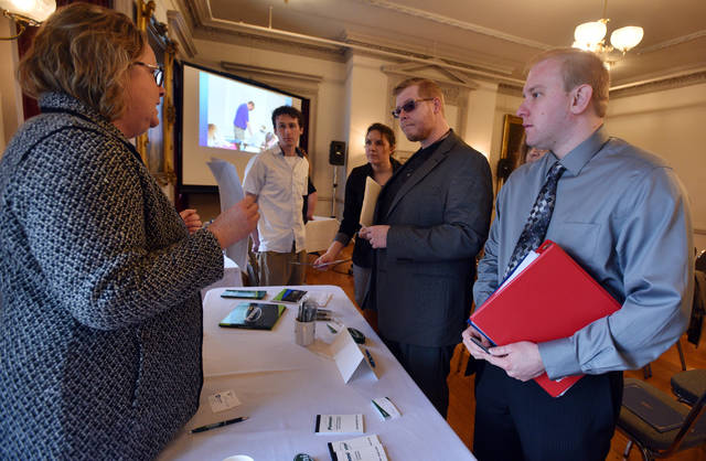 Kevin Novak, Joe Shanahan, Laura Rinehimer and Matthew Groshek were among the 21 graduates of earth Conservancy's Environmental Workforce Training program who learned about job opportunities and internships with Pennoni Monday.