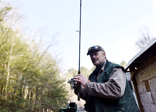 Ed Kuklewicz, of Warrior Run, fishes in Harveys Creek on the opening day of trout season. Kuklewicz began fishing with his father in this creek when he 4 years old. 'I know every part of this stream,' he said. 'Fishing is my love.'