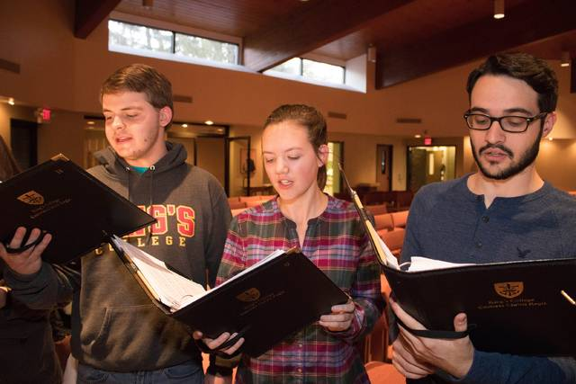 King's College choir Cantores Christi Regis will perform a free Spring Concert on April 27 and 28 in the J. Carroll McCormick Campus Ministry Center. Choir members include Jordan Wood, Casey Cryan and Sean Maloney.