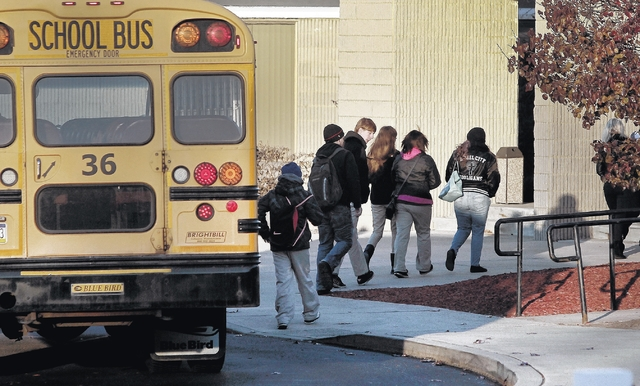 A school bus drops students off at the Wilkes-Barre Area Career and Technical Center in a file photo. For the second month in a row the Joint Operating Committee that runs the facility has declined to approve two of three agenda items related to the practical nursing program.