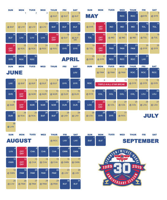 photo about Pittsburgh Pirates Printable Schedule named RailRiders announce 2019 month-to-month-period agenda Occasions Chief