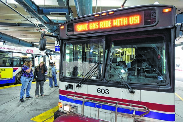 In this file photo, riders wait to board a Luzerne County Transportation Authority bus at the intermodal in Wilkes-Barre. The LCTA's new free night service starts Monday. Times Leader file photo