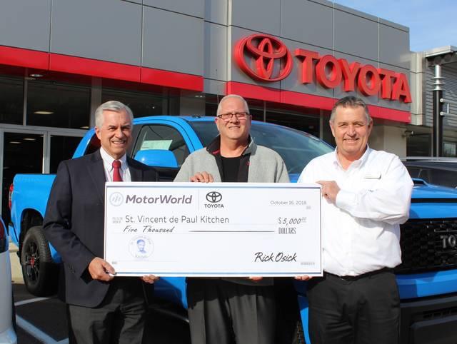 Motorworld toyota donates to st vincent de paul soup for Motor world wilkes barre