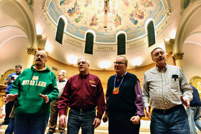 Barbershop Quartet members Jim Morpeth, Joe Husty, Tom Roberts and Drew Smith work on a special number. Sean McKeag | For Times Leader
