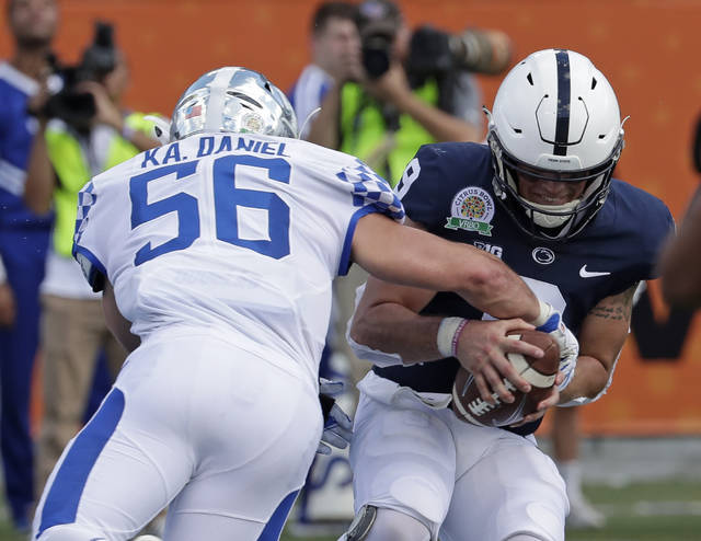Kentucky linebacker Kash Daniel comes up with one of five sacks of Penn  State quarterback Trace fdcbbe10d