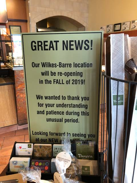 Panera Bread: Wilkes-Barre Twp  store to re-open in fall