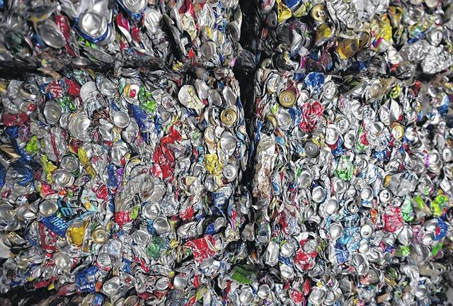 Bundles of compessed cans are seen at Northeast Cartage in Hanover Township. Residents can help reduce contamination in recycling loads by cleaning and rinsing their recyclable items, officials say. Aimee Dilger | Times Leader