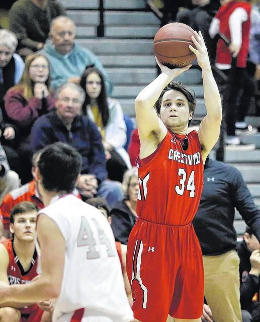 Crestwood's Mike Palmiero hits a three to keep the Comets close in the fourth quarter before they headed to overtime in a loss to Hazleton Area in the WVC Division 1 boys basketball championship game at Berwick Middle School. Bill Tarutis | For Times Leader