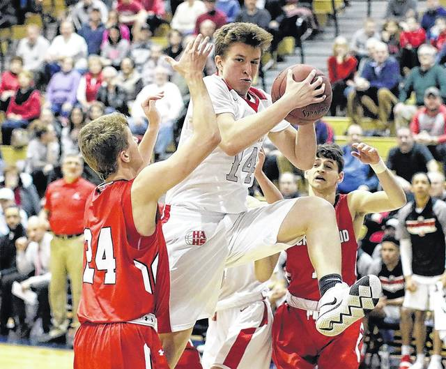 Hazleton Area's Scotty Campbell grabs a rebound against Crestwood in the WVC Division 1 boys basketball championship game at Berwick Middle School on Wednesday night. Bill Tarutis | For Times Leader
