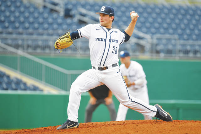 Penn State's Dante Biasi (38) during the Nittany Lions game with Xavier. The Nittany Lions split the Senior Day doubleheader with Xavier on May 11, 2018 at Medlar Field at Lubrano Park. Mark Selders file photo | Penn State Athletics