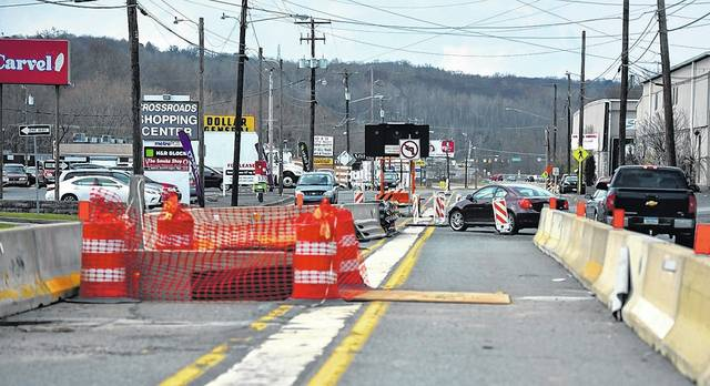 Construction cones are seen on the Sans Souci Parkway in Hanover Township last week. Aimee Dilger   Times Leader