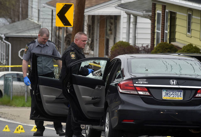 The scene of a shooting Wednesday morning on Casey Avenue near Cinema 309 in Wilkes-Barre Township. Aimee Dilger | Times Leader