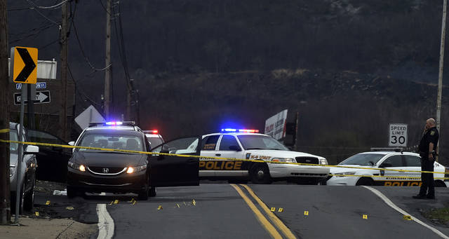 This was the scene early Wednesday morning on Casey Avenue in Wilkes-Barre Township where two people were reportedly shot and taken to the hospital. Aimee Dilger | Times Leader