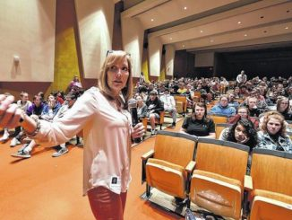 Bereaved mom's emotional presentation warns Nanticoke students about distracted driving