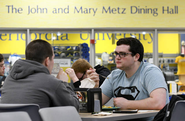 From a tuna sandwich, mac and cheese, salad and soup for Alex Tirko, of Wilkes-Barre, left, to a fish taco and hush puppies for Tony D'Eliseo, of Laflin, right, the two physical therapy majors found plenty to enjoy at the Misericordia University dining hall, run by Metz Culinary Management. Tony Callaio | For Times Leader
