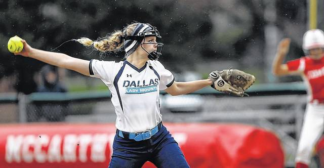 Dallas starting pitcher Sydney Hornlein threw a complete-game one-hitter against Crestwood on Tuesday. Fred Adams | for Times Leader