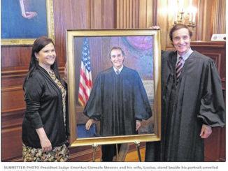 Stevens official portrait goes up in courtroom