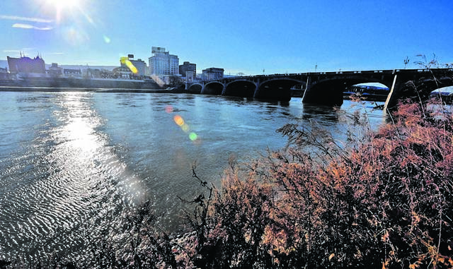 The Susquehanna River, photographed in Wilkes-Barre, originates in New York, where sewage releases have been an issue.
