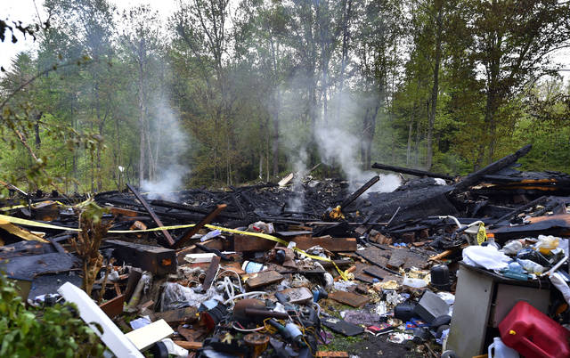 An explosion leveled a home on Alberdeen Road in Dorrance Township on Friday morning.