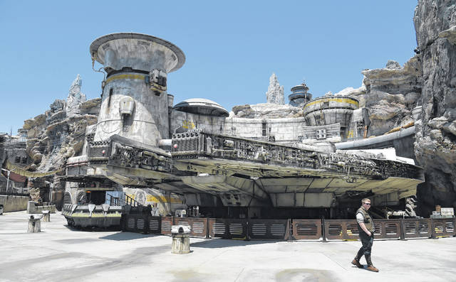 The Millennium Falcon starship structure is pictured during the Star Wars: Galaxy's Edge Media Preview. AP photo