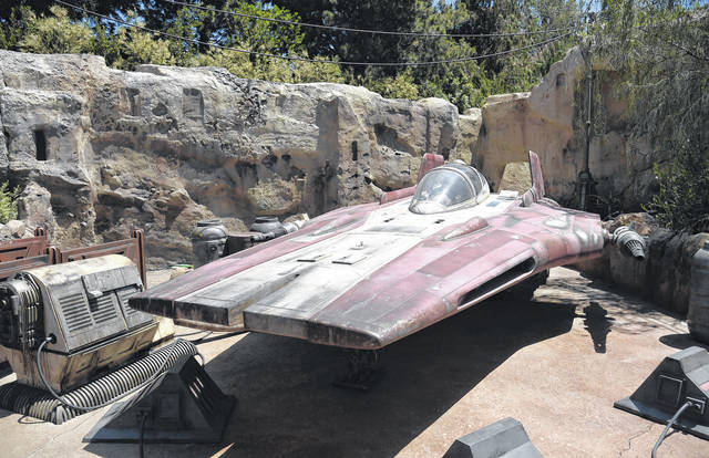 An A-wing interceptor starfighter is displayed during the Star Wars: Galaxy's Edge Media Preview. AP photo
