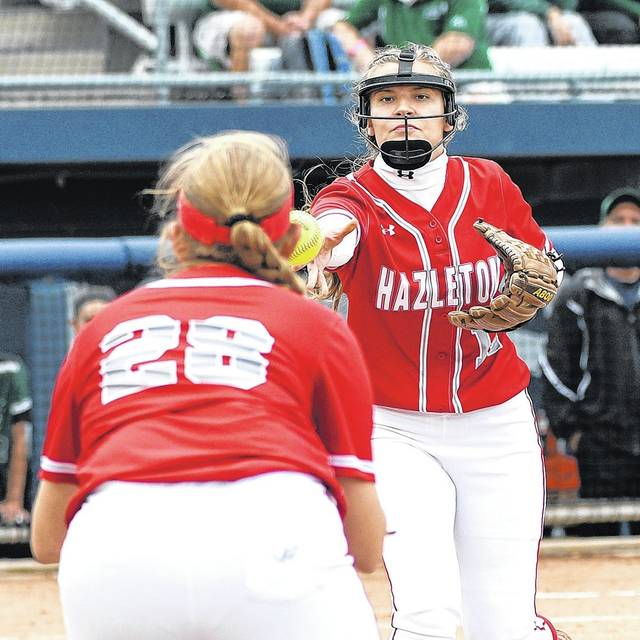Hazleton Area pitcher Aleah Kost fields a grounder to the mound and tosses to first baseman Kaitlynn Peters. Tony Callaio | For Times Leader