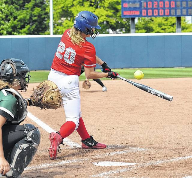 Kyra Antolick makes contact before reaching base on an infield error. Tony Callaio | For Times Leader