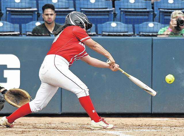 Tiana Treon leads off the seventh inning with a single as the Cougars tried to erase a two-run deficit in the final frame. Tony Callaio | For Times Leader