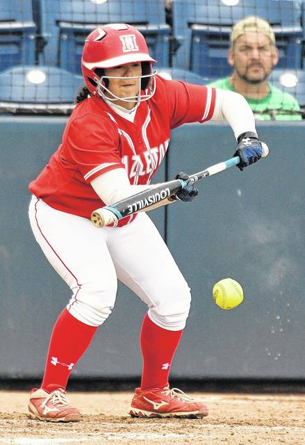 Gianna Gombeda lays down a bunt for an infield single that loaded the bases for Hazleton Area in the bottom of the seventh. Tony Callaio | For Times Leader
