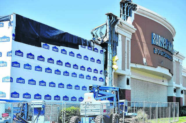 Damage to Barnes & Noble in the Arena Hub Plaza is seen after last June's EF-2 tornado. Times Leader File Photo