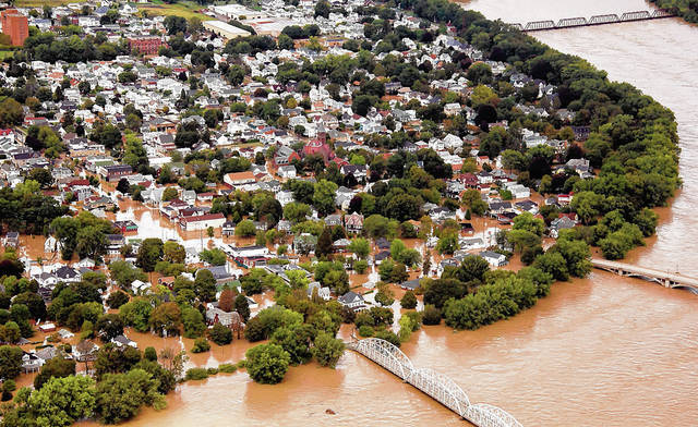 As shown in this file photo, more than 800 West Pittston structures were flooded when the Susquehanna River rose to a record height in September 2011, prompting many residents to call for a levee. File photo