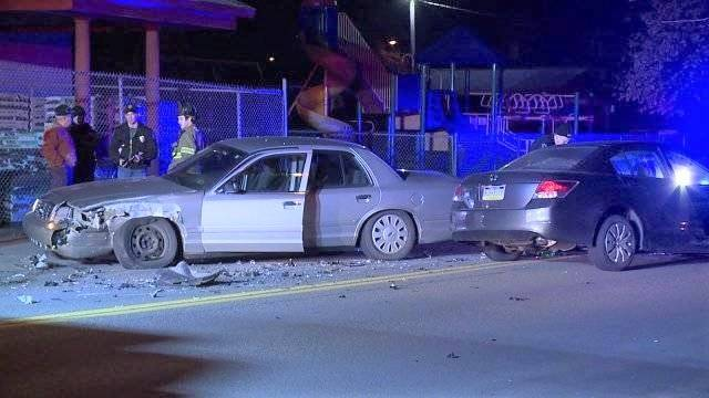 Two Ashley police officers were injured in a head-on crash on North Main Street on April 8, 2018. Courtesy WNEP