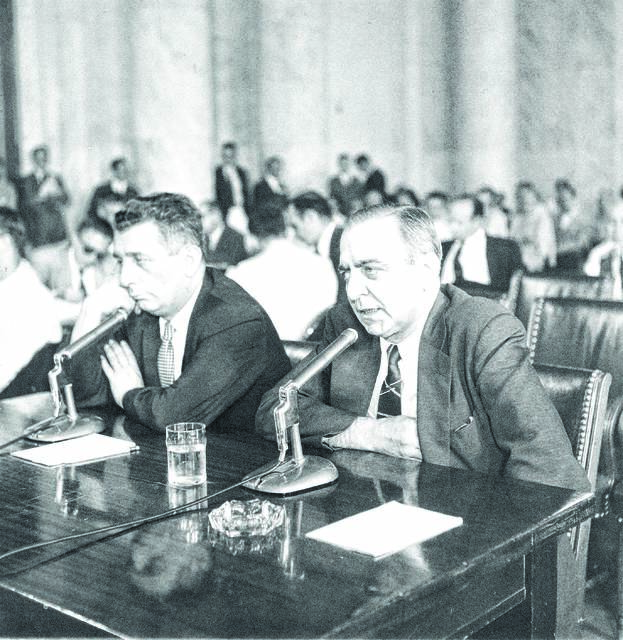 Russell J. Bufalino. right, and Thomas Lucchese testify before the Seante Rackets Committee, in Washington, on July 3, 1958, in a probe of alleged gangster infiltration of businesses and labor unions. AP file photo