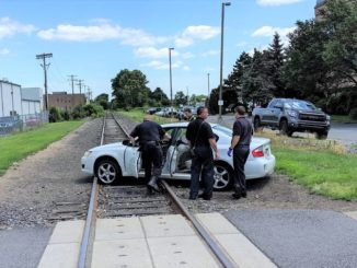 Motorist crashes on train tracks in Wilkes-Barre