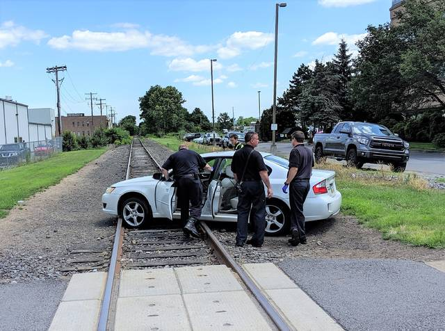 Motorist crashes on train tracks in Wilkes-Barre