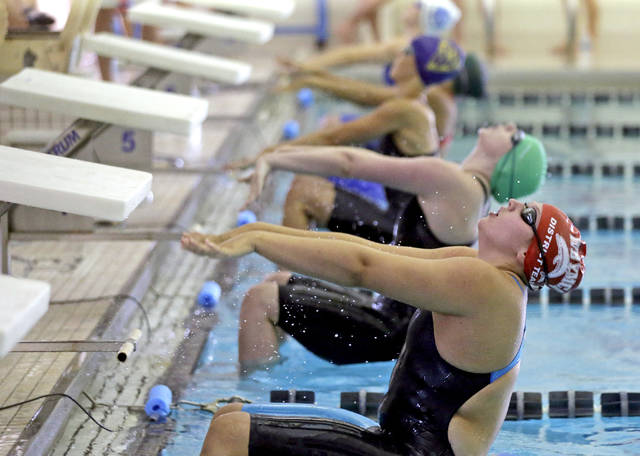 FILE PHOTO — Swimmers take off to begin the girls 15-16 year-old 100-yard backstroke competition during the 2018 Keystone State Games at the Wyoming Valley CYC in Wilkes-Barre. Bill Tarutis | For Times Leader