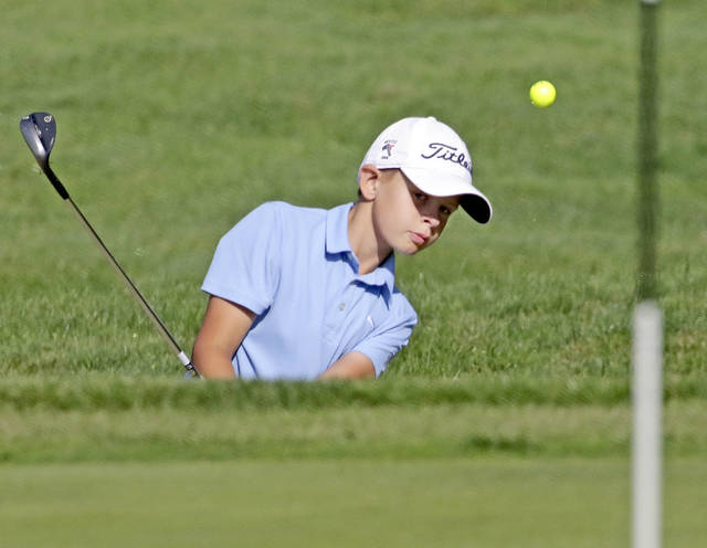 FILE PHOTO — Nick Werner, 11, of Wilkes-Barre, chips onto the 18th green in the 2018 Keystone State Games golf tournament at Wyoming Valley Country Club in Hanover Township. Bill Tarutis | For Times Leader