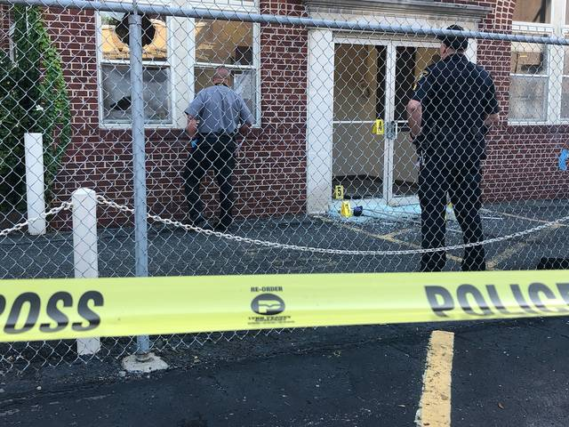 Police are seen investigating at the Wilkes-Barre Planned Parenthood office on Monday morning following damage at the site.