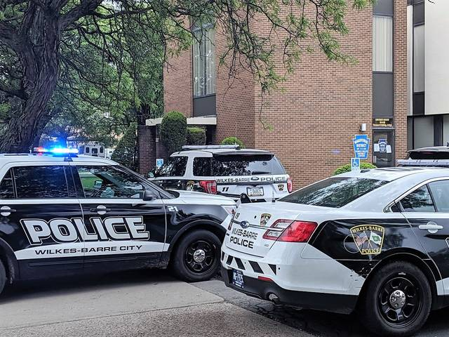 Wilkes-Barre police responded to a disturbance at District Judge Richard Cronauer's courtroom on Tuesday.