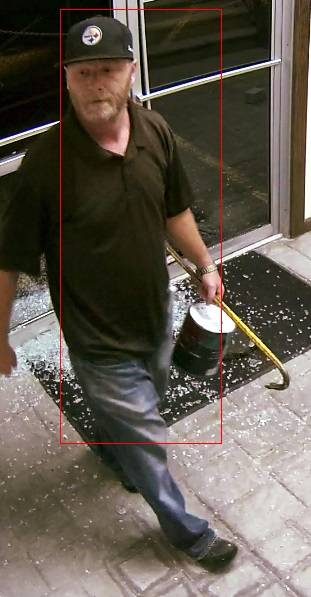 Police are seeking this man, captured on surveillance video, in connection with vandalism at the Wilkes-Barre Planned Parenthood office on Monday. Courtesy Wilkes-Barre Police