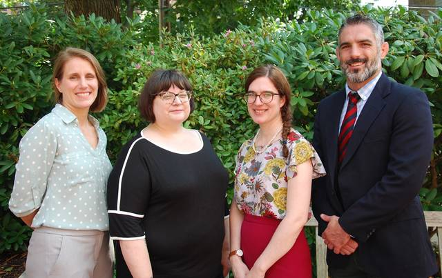 Wyoming Seminary Upper School in Kingston recently welcomed five new faculty and staff to campus for the start of the 176th academic year. From left, are Colleen Lewis, Morgan Howard-Penland, Katherine Welch and Greg Hagel. Absent at the time of the photo was CC Weber. Submitted photo