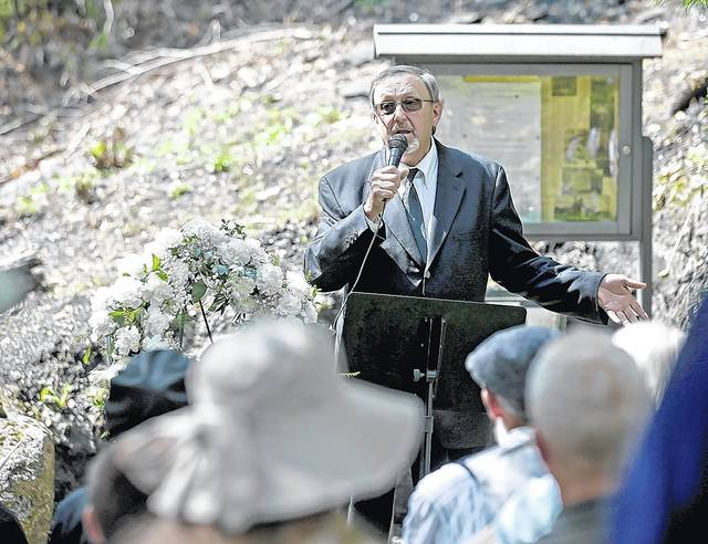 Plymouth Historical Society President Stephen Kondrad provides an on-site overview of the Avondale mine disaster during a commemorative service for its 150th anniversary Sunday in Plymouth Township. Bill Tarutis | For Times Leader