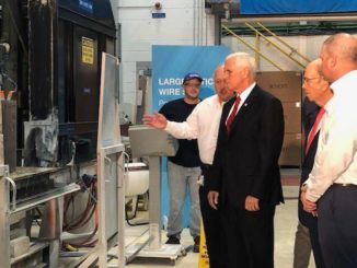 Pence arrives at Schott for tour, manufacturing remarks