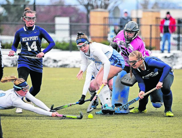 Wyoming Seminary's Hannah Maxwell (center) and Alex Wesneski (diving) renew the team's battle with Newport in a PIAA Class A quarterfinal game that will be a rematch of last year's state title game won by the Blue Knights. Bill Tarutis file photo | For Times Leader