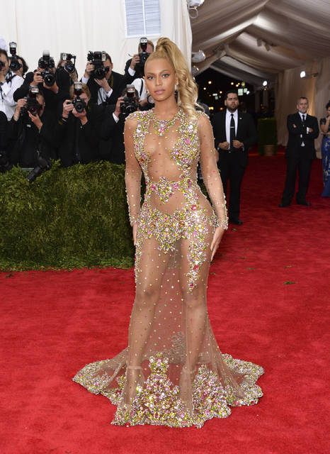 This May 4, 2015 file photo shows Beyonce Knowles at The Metropolitan Museum of Art's Costume Institute benefit gala celebrating 'China: Through the Looking Glass' in New York.