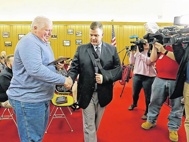 Hanover Twp. officer honored for rescuing Ashley man from fire