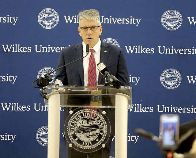 Greg Cant offers remarks after being announced as the seventh president of Wilkes University at the Sordoni Art Gallery in Wilkes-Barre on Thursday morning. Bill Tarutis | For Times Leader