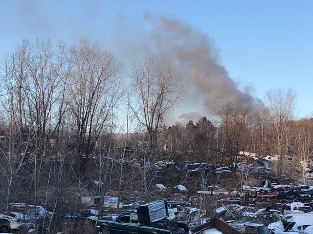 Firefighters battling cold temps, flames at Larksville scrapyard